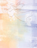 Christmas Angel Illustration Background. Angel illustration with trumpet on textured pastel background. Perfect for posters, newsletters, backgrounds, etc Stock Photography