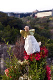 Christmas angel looking out over Austin Stock Images