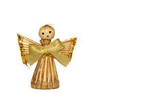 Christmas angel made from straw isolated on white Royalty Free Stock Images