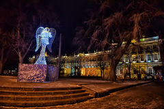 Christmas angel near Winter Palace Royalty Free Stock Photography