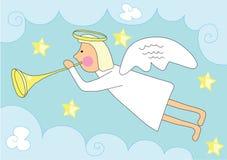 Christmas angel over blue sky Stock Photo