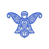 Christmas angel with pattern. Vector Laser cutting template for greeting cards. Angel laser cutting. Christmas tree decoration. Laser Cutting template for Royalty Free Stock Image