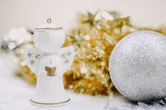 Figurine of christmas angel with blured background royalty free stock photos