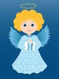 Christmas angel prays. Christmas angel in the blue. Cartoon illustration Stock Photos