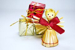Christmas angel with presents Royalty Free Stock Photography