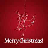 Christmas angel on red background Stock Photo
