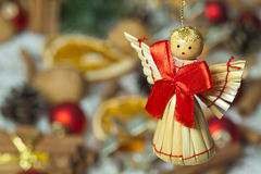 Christmas angel with red bow Stock Photos