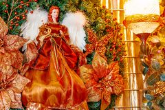 Christmas Angel with a red dress royalty free stock photography