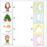 Christmas angel, Santa, elf and new year tree. Educational game Stock Photos