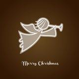 Christmas angel silhouette. Xmas greeting card Stock Image