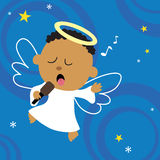 Christmas Angel singing his heart out. Illustration of a cute angel singing w/ microphone Royalty Free Stock Images