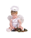 Christmas angel, small child with phone Stock Images
