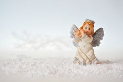 Christmas angel and snow Royalty Free Stock Images