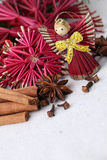 Christmas angel and spices Royalty Free Stock Photo