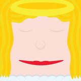 Christmas Angel. Square Christmas Angel face with halo and blonde hair Royalty Free Stock Image