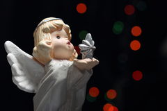 christmas angel with star and lights Royalty Free Stock Image