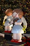 Christmas Angel Statue with Violin Stock Photos