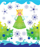 Christmas angel with trees and snowflakes Stock Photo