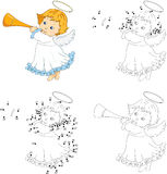 Christmas angel with a trumpet. Coloring book and dot to dot gam Royalty Free Stock Images