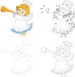 Christmas angel with a trumpet. Dot to dot game for kids Stock Photos