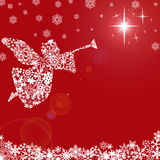 Christmas Angel with Trumpet and Snowflakes Stock Image