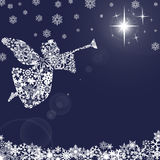 Christmas Angel with Trumpet and Snowflakes 2 Royalty Free Stock Photos