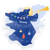 Christmas Angel with Trumpet. Vector illustration of an Angel blowing in trumpet with Merry Christmas words. Christmas template for cards, invitations, banners vector illustration