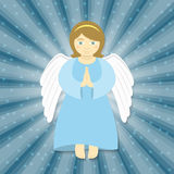 Christmas Angel. Vector cartoon illustration of flying angel with the hands folded in prayer, smiling in the rays of light on a starry background. Christmas Royalty Free Stock Photography
