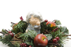 Christmas angel with wreath Royalty Free Stock Photography