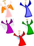 Christmas angels. For seasonal holiday with variety of wings on white Stock Images