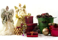 Christmas Angels. Presents, and decorations on white background Royalty Free Stock Images