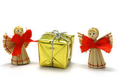 Christmas angels. Christmas decoration  - wooden angel with a gift Stock Photography