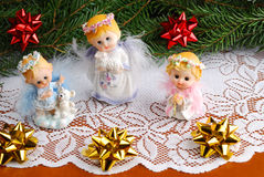 Christmas angels. Decorations on crumb-cloth Royalty Free Stock Photos