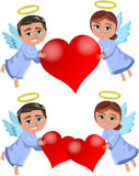Christmas Angels Bringing Love Stock Image