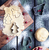 Christmas angels cookies from dough Stock Images