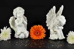 Christmas angels with flowers for gifts, isolated on black Royalty Free Stock Image