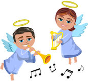 Christmas Angels Playing Trumpet and Harp. Illustration featuring Bob and Meg xmas angels flying and playing trumpet and harp isolated on white background. Eps royalty free illustration