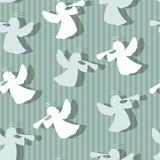 Christmas angels silhouette seamless pattern. Stock Photos
