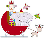 Christmas animal sleigh Royalty Free Stock Images