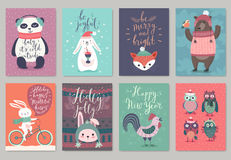 Christmas animals card set, hand drawn style. Stock Image
