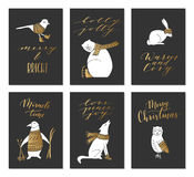 Christmas animals cards. Vector hand drawn cute forest animals collection. Stylish and elegant cartoon animals cards. Cute and childish hipster christmas royalty free illustration
