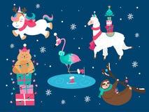 Christmas animals cat sloth unicorn flamingo set