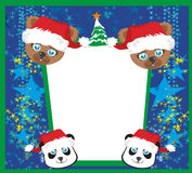Christmas and Animals frame Royalty Free Stock Photos