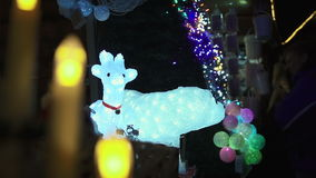 Christmas animals light decorations stock footage