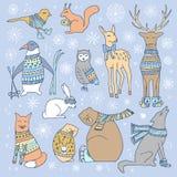 Christmas animals set. Royalty Free Stock Photo