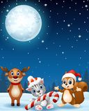 Christmas animals in the winter night background. Illustration of Christmas animals in the winter night background Royalty Free Stock Photo