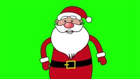 Christmas animated greeting card with cartoon Santa Claus on the green screen. Lip sync for xmas song Jingle bell. 4K