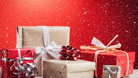Christmas animation of Christmas gifts kept against the red background