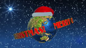 Christmas animation with Earth stock video footage