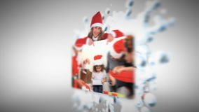 Christmas animation with families stock footage